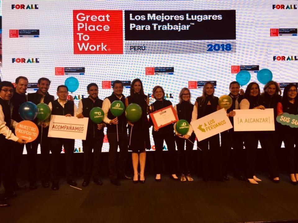 Interbank nuevamente reconocida como una de las mejores empresas para trabajar en el Perú en el ranking GPTW 2018