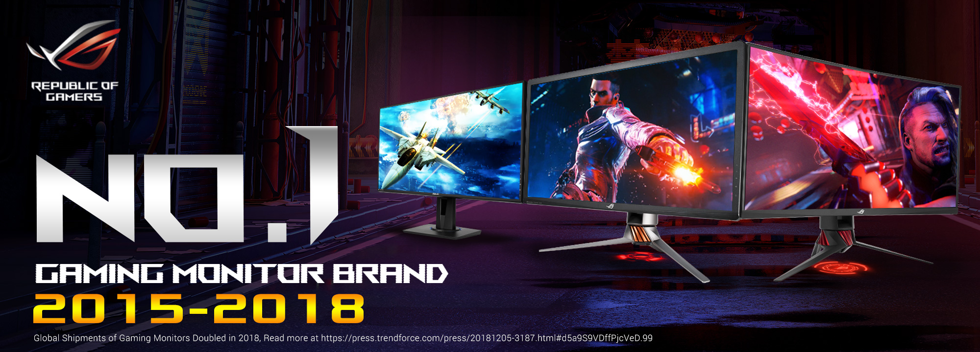 ASUS Republic of Gamers Revelado como Líder Mundial en Monitores Gamers 2018