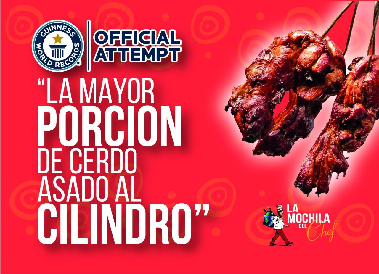 """Records Guinness de """"La mayor porción de cerdo asado al cilindro"""""""