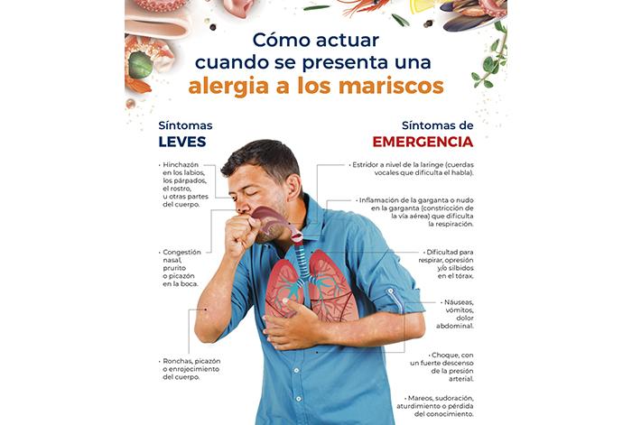 Cómo actuar cuando se presenta una alergia a los mariscos