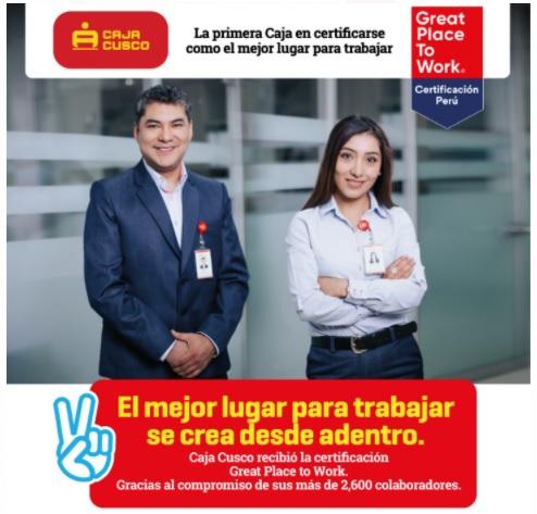 Caja Cusco: Primera caja municipal certificada como uno de los mejores lugares para trabajar