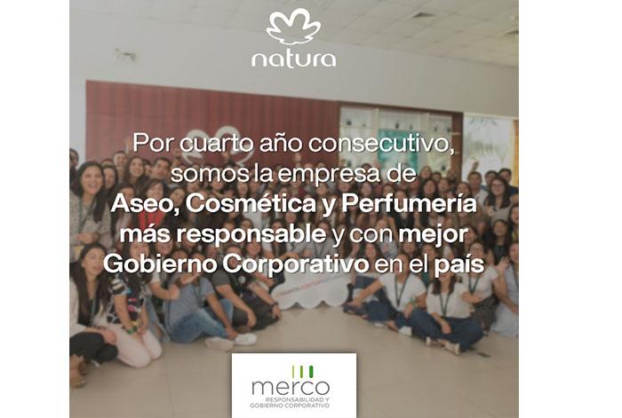 Natura es reconocida como la empresa del sector aseo, cosmética y perfumería más responsable en Perú