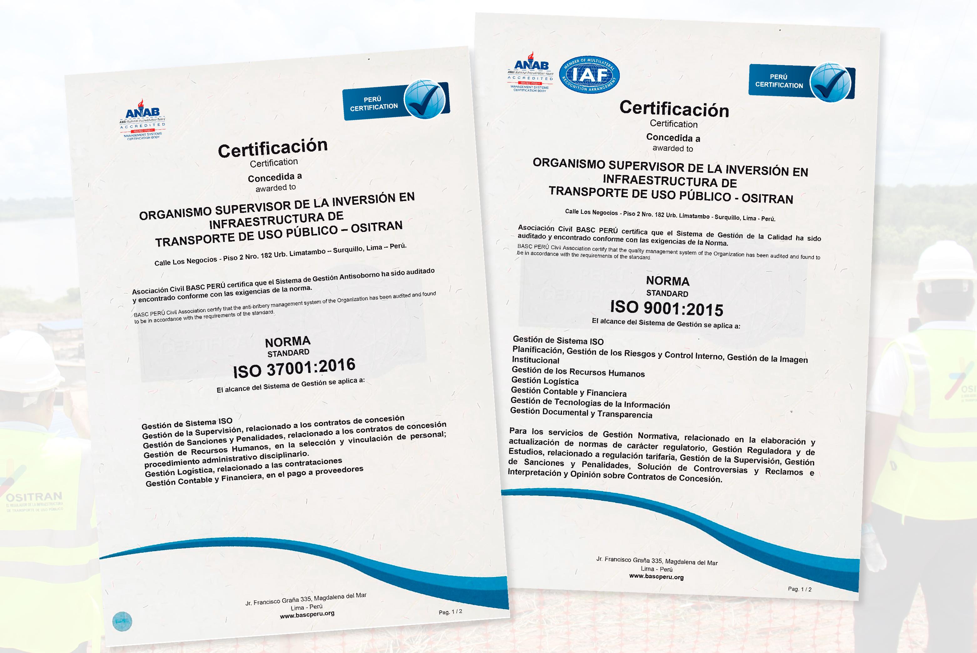 Ositran recibe recertificación de sus sistemas de gestión de la calidad y antisoborno