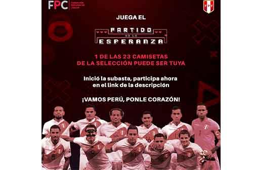 La Selección Nacional de Fútbol (FPF) realiza una subasta para ayudar a los pacientes oncológicos de la Fundación Peruana de Cáncer