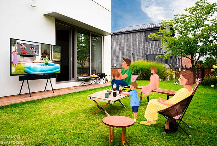 Un día en la vida del The Terrace: La TV para exteriores versátil, duradera y de alto rendimiento de Samsung